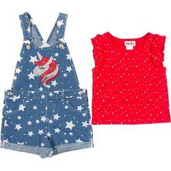 Little Girls Americana Shortalls Set