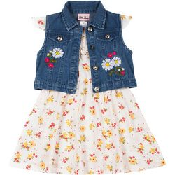 Little Girls Denim Vest & Floral Print Dress