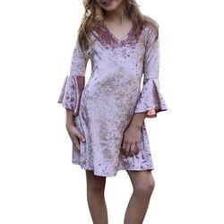 Big Girls Bell Sleeve Velvet Dress