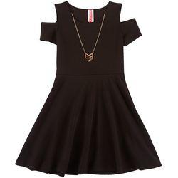 Little Girls Solid Textured Cold Shoulder Dress