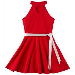 Cute 4 U Big Girls Janet Halter Ribbon Sash Dress