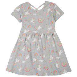 Freestyle Little Girls Rainbow Unicorn Dress