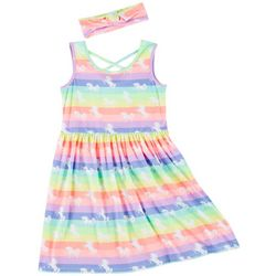 Freestyle Little Girls Rainbow Unicorn Dress