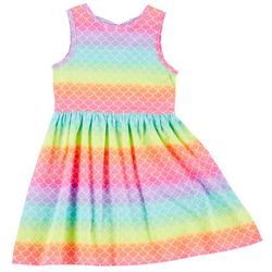 Freestyle Big Girls Sleeveless Rainbow Mermaid Scale Dress