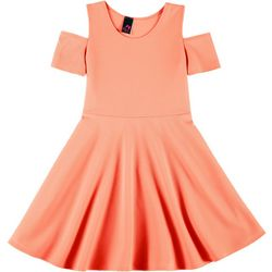 Kids Big Girls Textured Cold Shoulder Dress