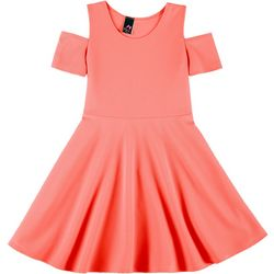 Kids Little Girls Textured Cold Shoulder Dress