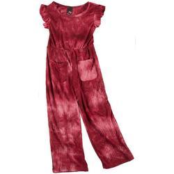 Little Girls Short Sleeve Tie Dye Jumpsuit