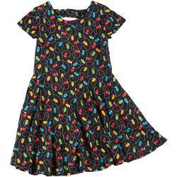Girls Short Sleeve Xmas Lights Dress