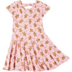Girls Candy Cane & Gingerbread Print Dress