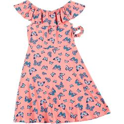 Star Ride Little Girls Flutter Sleeve Butterfly Dress