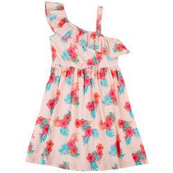 Big Girls Hibiscus Ruffle Dress