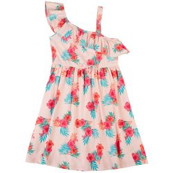 Sweet Butterfly Little Girls Hibiscus Ruffle Dress