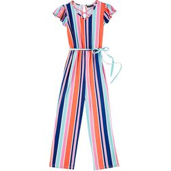 Big Girls Short Sleeve Stripe Jumpsuit