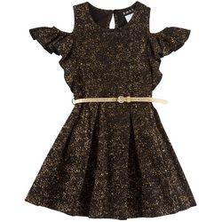 Big Girls Shimmery Cold Shoulder Dress With Belt