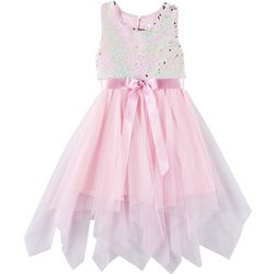 Little Girls Sleeveless Sequin Bow Tie Dress