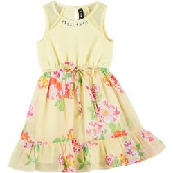 Little Girls Sleeveless Floral Ruffle Hem Dress