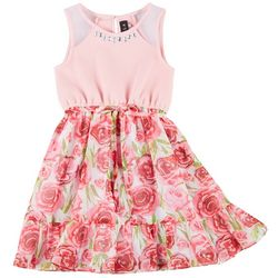 Little Girls Sleeveless Floral Print Ruffle Hem Dress