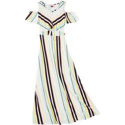 Big Girls Cold Shoulder Stripe Maxi Dress