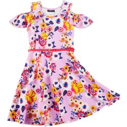 Big Girls Floral Print Cold Shoulder Dress With Belt