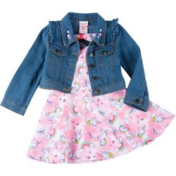 Little Girls Denim Vest & Unicorn Print Dress