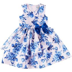 Nannette Little Girls Sleeveless Ruffle Floral Dress