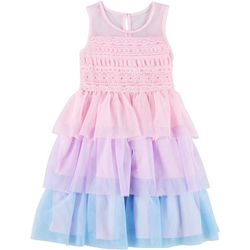 Nannette Little Girls Lace Tiered Mesh Dress