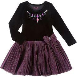 Nannette Big Girls Velvet Sparkle Tulle Dress