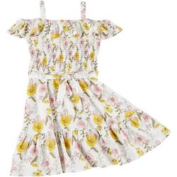 Sunset Sky Big Girls Floral Smocked Dress