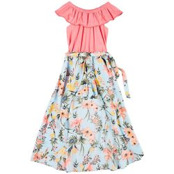 Sunset Sky Big Girls Floral Maxi Jumper