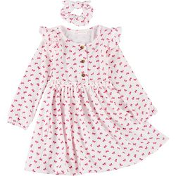 Young Hearts Little Girls Bow Print Dress