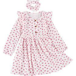 Little Girls Bow Print Dress