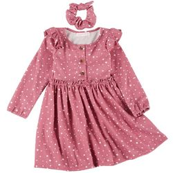 Young Hearts Little Girls Polka Dot Print Dress