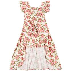 Nannette Big Girls Flutter Sleeve Floral Walk-Through Dress
