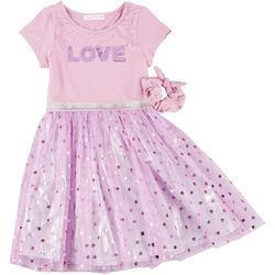 Young Hearts Little Girls Love Sequin Dress & Scrunchie