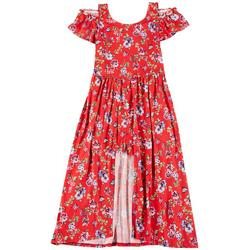 Big Girls Cold Shoulder Floral Walk-Through Dress