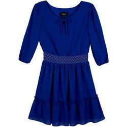 Big Girls Long Sleeve Smocked Waist Peasant Dress
