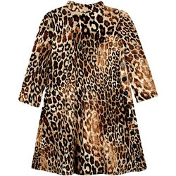 Big Girls Long Sleeve Leopard Side Button Dress