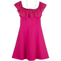 Amy Byer Big Girls Solid Ruffle Neck Dress