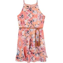 Amy Byer Big Girls Floral Ruffle Sleeveless Dress