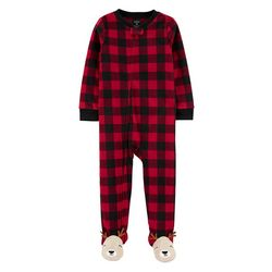 Baby Boys Fleece Plaid Reindeer Footie Pajamas