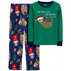 Toddler Boys 2-Pc. Santa Sloth Fleece Pajamas