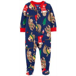 Toddler Boys Long Sleeve Santa Sloth Fleece Pajamas