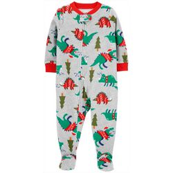 Toddler Boys Long Sleeve Santa Dino Fleece Pajamas