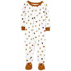 Baby Boys Turkey Print Snug Fit Footie Pajamas