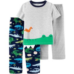 Toddler Boys 3-pc. Alligator Poly Pajama Set