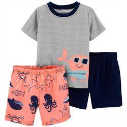 Toddler Boys 3-pc. Crab Sleepwear Set