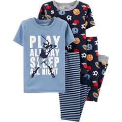 Carters Little Boys 4-pc. Sports Snug Fit Pajama Pants Set
