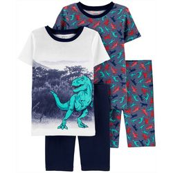 Little Boys 4-pc. Short Sleeve T-Rex Sleepwear Set