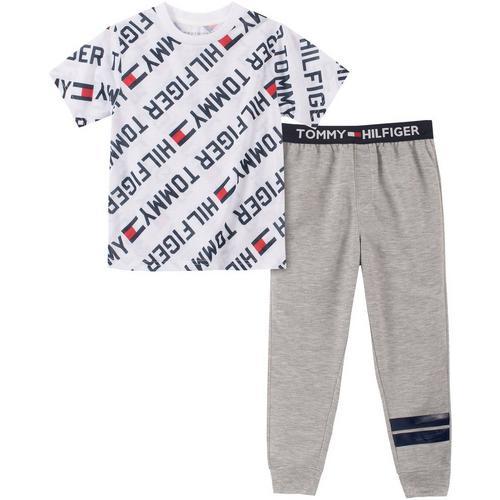 Gray Jogger Pants SHIPS FREE Tommy Hilfiger Pajama Set L Short Sleeve Navy Crew