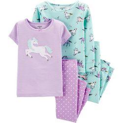 Carters Toddler Girls 4-pc. Horses Sleepwear Set